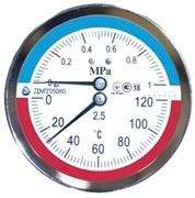 """Термоманометр аксиальный Стеклоприбор ДМТ (05080) 1/2"""", 1.6 МПа, 80 мм, 150°C, кл. 2.5"""