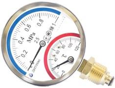 """Термоманометр радиальный Стеклоприбор ДМТ (05080) 1/2"""", 0.6 МПа, 80 мм, 120°C, кл. 2.5"""
