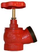 Клапан пожарный чугун угловой 125 гр Апогей КПЧ 50-1 Ду 50 1,6 МПа муфта-цапка с датчиком положения ДППК 24
